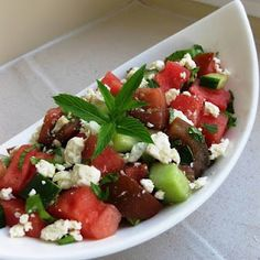 watermelon, tomato, cucmber + feta salad - perfect summer dish..