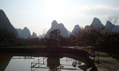 Yangshuo, China--a little pond along the bike path.