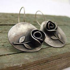 """Серебряные серьги """"Sub rosa dictum"""" - серебро,серебро 925 пробы,роза,розы"""