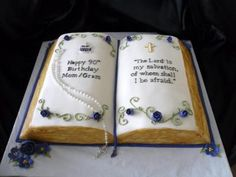An open bible cake for a 90th birthday.