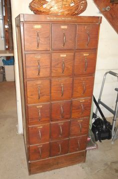 Antique 20 Drawer Excella Pattern Cabinet Oak Store Fixture File ...