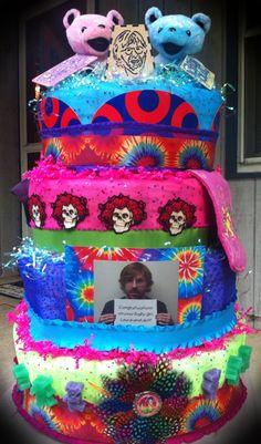 GingerSnaps Tutus, Etc. custom Grateful Dead and Phish Diaper Cake.