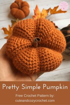 Pretty Simple Pumpkin is a perfect pattern to make for your Fall decor. It warms your home with the faint smell of cinnamon and the beautiful color of a ripe pumpkin. Get the free crochet pattern at Cute & Cozy Crochet. Crochet Geek, Crochet Gifts, Crochet Dolls, Easy Crochet, Free Crochet, Crochet Pumpkin Pattern, Halloween Crochet Patterns, Free Pumpkin Patterns, Crochet Fall Decor
