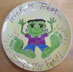 frankenstein monster footprint plate for halloween