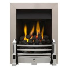 If you prefer the look of a real flame then this stylish gas fire is ideal for you. Gas Fires, Chrome, Home Appliances, Living Room, Home Decor, Products, House Appliances, Decoration Home, Room Decor