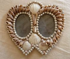 Double Heart Vintage Shell Frame by HWFAattic on Etsy, $165.00