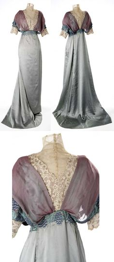 Evening gown by Liberty of London, 1910s. This dress mixed between silk voile, lace and embroidery