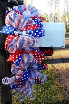 Patriotic Mailbox Swag, Patriotic Swag, Memorial Day Decor, Veterans Day Decor, July 4th Decor