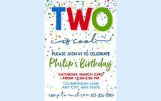 Second Birthday Invitation, Confetti Invitation, 2nd Birthday Invitation, Confetti Birthday, Boy Birthday, Printable, Two is cool Invite