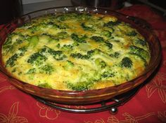 Crustless Broccoli Quiche - I also added onion and garlic, and did a mix of cheddar and mozzarella