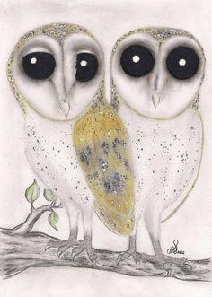 Barn Owls 5X7 Original Artwork greeting card/Art by InkyDreamz