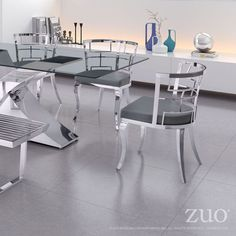 Elegant Stainless Steel Dining Chair https://www.studio9furniture.com/dining-room/dr-chairs/quince-dining-chair-white  In smoothly polished stainless steel design with slim shaped front legs, this dining chair can never be out of style.