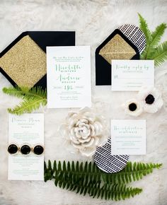 Sparkly gold and black wedding invitations