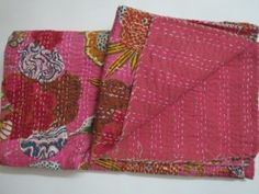 India Hand stitched New Kantha Quilt Cotton Bedspread Throw Blanket Rainbow Bright pink Floral Cotton Bedcover Wedding