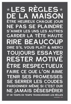 Les Règles de la Maison - Home Rules - poster affiche sticker