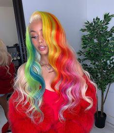 Hair and beauty Eye Makeup a dark eye makeup Pretty Hair Color, Beautiful Hair Color, Colored Wigs, Coloured Hair, Baddie Hairstyles, Teenage Hairstyles, Hair Laid, Aesthetic Hair, Rainbow Hair