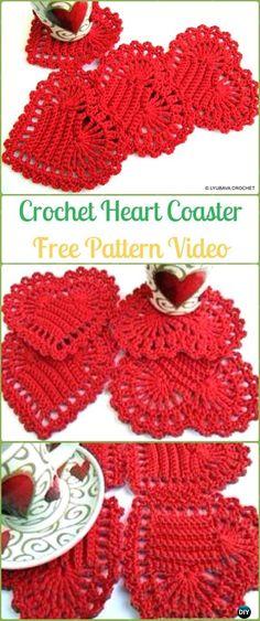 Crochet Heart Coaster Free Pattern-Crochet Heart Applique Free Patterns #CrochetPatterns