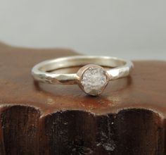 Uncut Diamond 14k Rose Gold and Sterling Silver Engagement Ring, Alternative Engagment, Raw Diamond, Conflict Free Diamond
