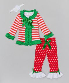 The Princess Pea Red & Green Ruffle Cardigan Set - Infant, Toddler & Girls Baby Girl Christmas, Kids Christmas, New Baby Girls, Little Girls, Best Christmas Presents, Merry And Bright, Infant Toddler, Toddler Girls, Red Green