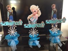 #Frozen centerpiece #Elsa #Anna