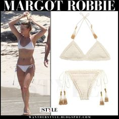 Margot Robbie in cream crochet bikini from She Made Me  --Be your own Whyld Girl with a wicked tee today! http://whyldgirl.com/tshirts