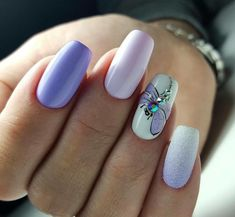 Beach nails Cute nails Fashion nails 2018 Ideas of gentle nails Light purple - All For Hair Color Trending Nail Art Design Gallery, Best Nail Art Designs, Dragonfly Nail Art, Light Purple Nails, Purple Nails With Design, Light Nails, Nails 2018, Beach Nails, Super Nails