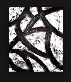 """Black and White Original Acrylic Abstract Painting on Gallery Canvas Fine Art Titled: Vintage Vinyls 3 30x36x1.5"""" by Ora Birenbaum. 345.00, via Etsy."""