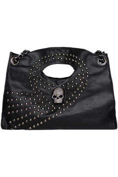 Skull Embellished Rivets Black Bag. Description Black bag, featuring both hand tote and single shouder styling, with skull and rivets embellished, shoulder woven chain top, with eyelet detailed, and inner pocket with zip closure fastening finish. Fabric PU Washing To maintain appearance and condition, wipe light marks with a soft cloth. #Romwe