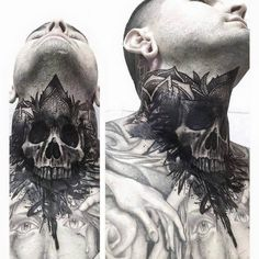 Black and Grey Skull Tattoos Chest Neck Tattoo, Full Neck Tattoos, Neck Tattoo For Guys, Chest Piece Tattoos, Head Tattoos, Body Art Tattoos, Tattoos For Guys, Evil Skull Tattoo, Skull Tattoos