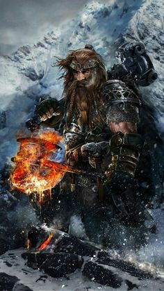 Fire axe dwarf fighter warrior