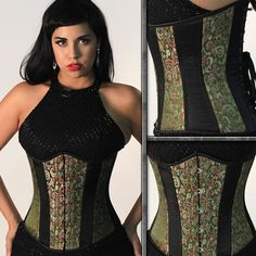 Green Satin Brocade with Black Trim Corsets For Sale, Black Iris, Garter Straps, Lace Tights, Green Satin, Waist Training, Different Styles, Cotton, Dresses