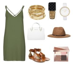 """""""Gold and Green"""" by anna-james-21 ❤ liked on Polyvore featuring Topshop, Michael Kors, ABS by Allen Schwartz, River Island, Ace of Something, Bobbi Brown Cosmetics and Gucci"""