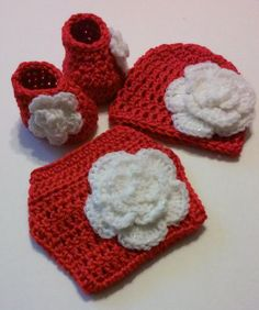 Red Diaper Cover Set Matching Flower Hat and Booties Baby Newborn Girl Large Glitter Flower