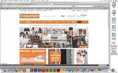De Kwantum lijkt erg op de website van Ikea, het heeft de zelfde indeling. Zoals het logo links bovenaan. Inloggen rechts boven aan. Menubalk is een grote kleurige balk onder het logo. Ook zijn de reclame/plaatjes/links het zelfde ingedeeld als bij de website van Ikea. Het is een goede concurrent van Ikea want het speelt met prijsklasse en veel actie's. Ook verkopen ze de zelfde producten.
