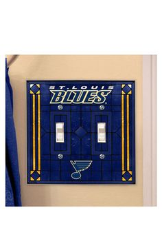 St Louis Blues Art-Glass Double Light Switch Cover