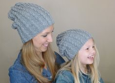 Mommy and Me Matching Hand Knit Hats, Father and Son Grey Cabled Slouch Beanies, Knit Toddler Hat, Women's Knitted Slouchy Beanie Beret by BoPeepsBonnets, $80.00