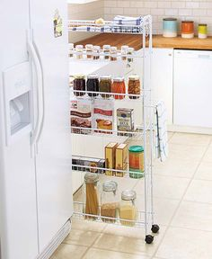 Put even a small amount of space to good use with this Slim Rolling Pantry. With a lightweight frame and wheels on the four legs, it's easy to move around. Two of the wheels lock to hold it in place.