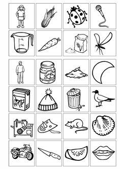 """Eine einfache Kopiervorlage für Anlaut """"M"""". Wenn es doppelt ausgedruckt wird, kann man die Bilder als Lottovorlage bzw. Domino verwenden oder als Memory. A - zu Dyslalie. Auf madoo.net für deine logopädische Therapie."""