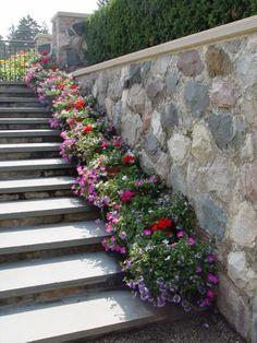 88 Amazing DIY Ideas for Decorating Your Garden Uniquely - The Expert Beautiful Ideas Q Garden, Garden Steps, Diy Garden Decor, Rock Wall Gardens, Flower Garden Design, Flowers Garden, Stair Decor, Different Plants, Front Yard Landscaping