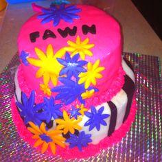 Pink purple orange zebra cake.