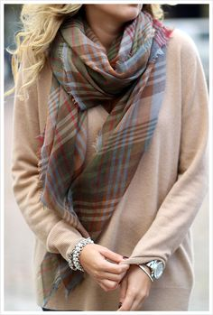 I love the nude top with the darker scarf. Very pretty