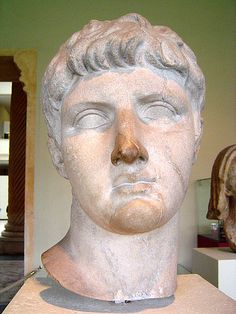 Drusus the Elder (Nero Claudius Drusus Germanicus), son of Livia, adopted son of Augustus, brother of Emperor Tiberius, father of Emperor Claudius, Roman statue (marble), 1st century BC - 1st century AD, (Musée du Cinquantenaire, Brussels).