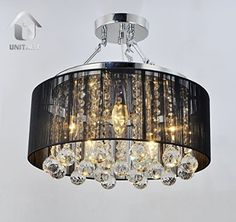 Unitary BRAND Modern Crystal Drops Drum Semi Ceiling Light Black Fabric Shade Max 200W With 5 Lights Chrome Finish