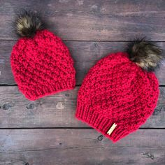 """Mommy and Me """"Riverlands"""" Beanies in Cranberry with Brown Faux Fur PomPom   Instagram- smallbranchdesigns  Facebook- SmallBranch Knit Designs"""