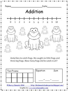 FREEBIE: ADDITION and SUBTRACTION WORD PROBLEMS (2 pages) - Solve word problems using number line, drawing, ten frame, and equation!