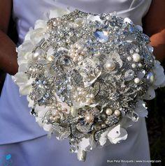 Cascading Hydrangea Bouquet by #BluePetyl #WeddingBouquet #JeweledBouquet