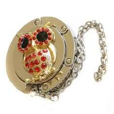 Small Goby Owl Foldable Purse Hanger Bag Table Hook Caddy Valet With Free Gift Box Red Gold One Size 16 00