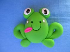 *POLYMER CLAY ~ Handmade Polymer Clay Frog Bow Center.