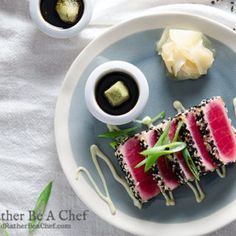 A perfect seared ahi tuna recipe with a playful wasabi mayo and a salty-sweet mirin dipping sauce. Easy. Fast. Gluten Free. Paleo. Low Carb.