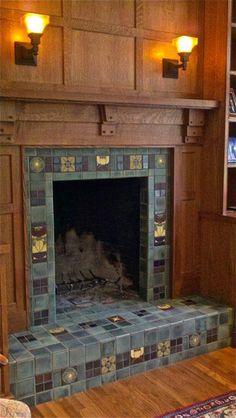 Craftsman Paneling & Fireplace Mantel - Bosetti Art Tile - Raleigh, North Carolina love the panels above the fireplace Craftsman Decor, Craftsman Interior, Craftsman Style Homes, Craftsman Bungalows, Craftsman Tile, Craftsman Furniture, Mission Furniture, Farmhouse Fireplace, Fireplace Hearth